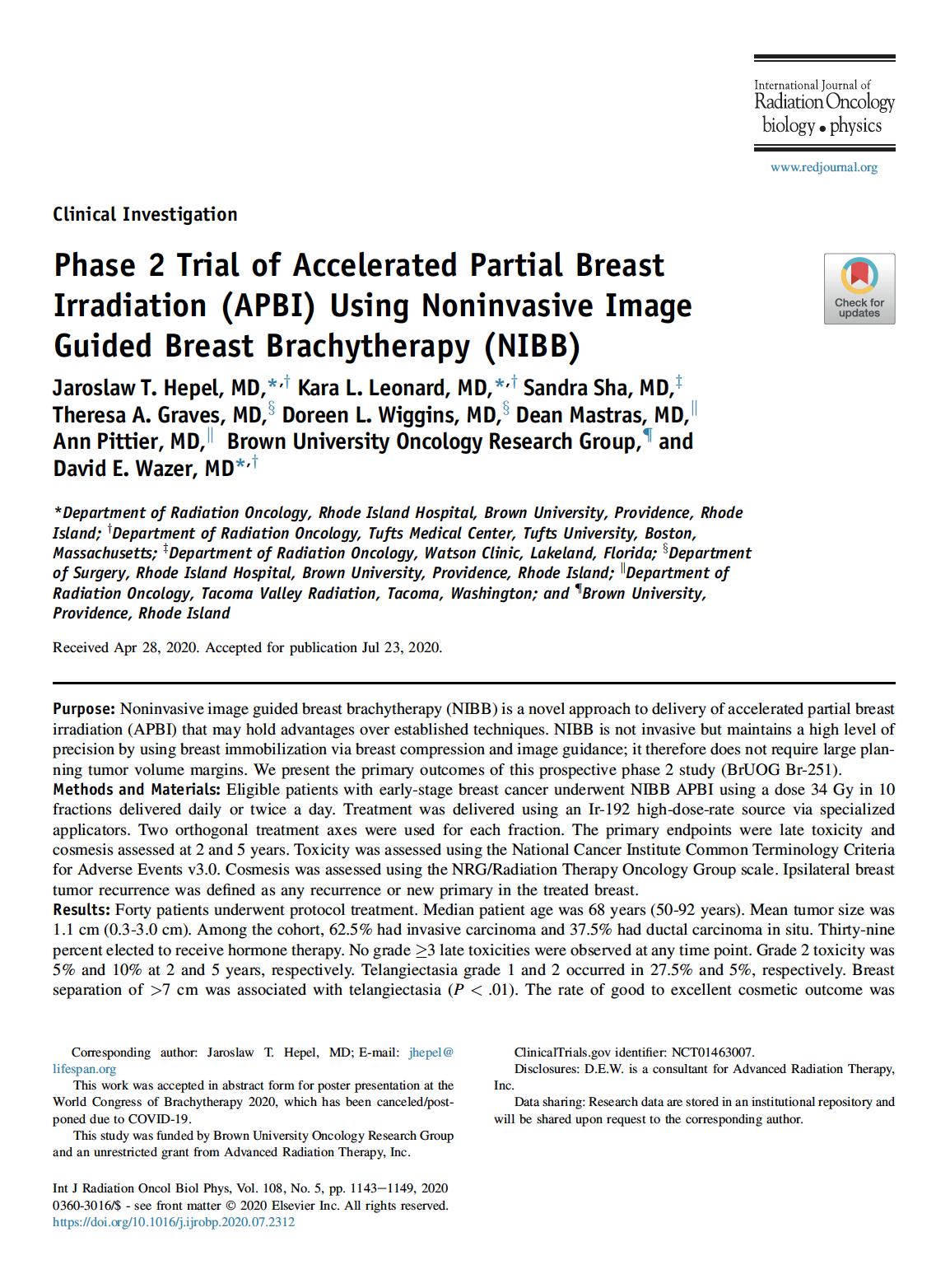 Dr. Hepel phase II APBI publication